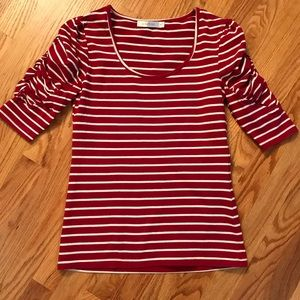 Mink Pink Striped T Shirt with Gathered Sleeve